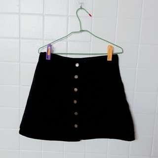 顯瘦A字裙雙口袋設計(黑L)