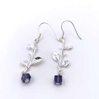 E41013 Leaves with Branches Silver 925 & Swarovski Crystal Earrings