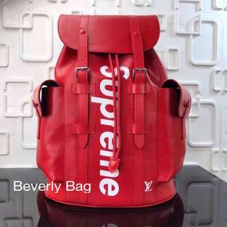 jual tas LV Backpack Christopher Supreme LEATHER MIRROR - red