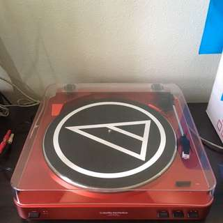 AUDIO TECHNICA TURNTABLE AT-LP60 Red VINYL RECORD