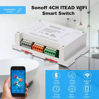 Alexa WiFi Wireless Switch - Controls 4 devices, 220V Sonoff 4CH