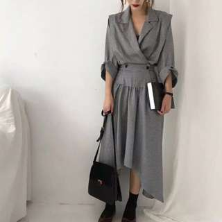 Waist-B.U & Collared Suit Irregular Hem Dress