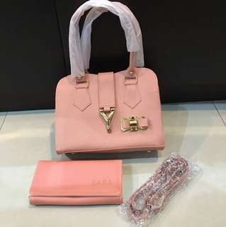 1 set pink bag