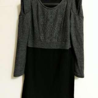 🚚 造型袖灰黑長版衣