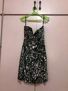 Black/Silver Fully Sequined Party Dress