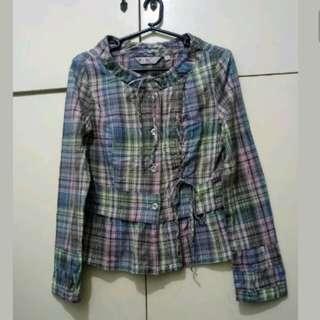 WA419 Checkered Korean Long Sleeve Blouse (see pics for Measurements)