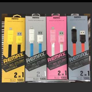 2 in 1 Remax Fast Charge RC-27t Cable 1m
