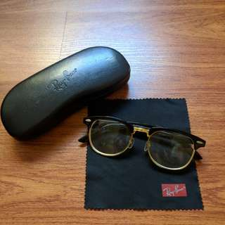 Black Gold Ray-Ban Prescription Retro Vintage Glasses with branded case and lens cloth