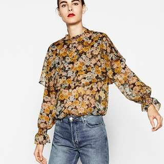 NCR1050 Frilly Floral Blouse (S,M,L)