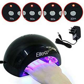 Elite99® LED Nail Lamp Kit, Elite99 12W Black Professional Nail Dryer Machine Fast Curing LED Gel with 4 Timers Presets (30s, 60s, 90s, 30min) , UK PLUG, + FREE GEL NAIL POLISH TOP BASE COAT SET, Safer for Nails and Skin Than Traditional UV Nail Lamps