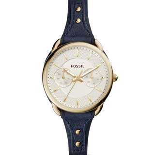 Fossil original Women's ES4051 Tailor Multi-Function Gold Dial Indigo Leather Watch