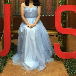 Baby blue pastel blue flowly gown