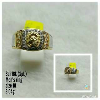 TWO TONE HORSE 18K SAUDI GOLD SPL MEN'S RING ,,,,