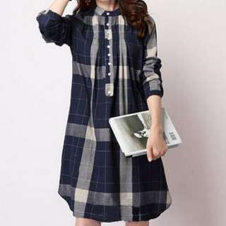 (PO)Loose Retro Button Plaid Print (Women Blouse)