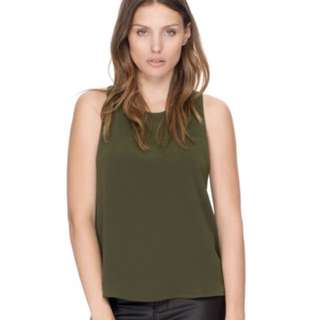 Khaki crepe top - back detail