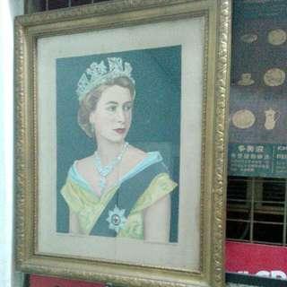 Queen Elizabeth II Portrait Vintage