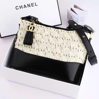 Chanel Gabrielle Tweed Bag  Embellished Medium Hobo Bag Material Tweed & Aged Calfskin Offwhite Edition (Box)