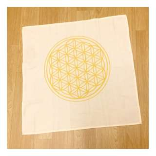 Flower of Life grid cloth 58 x 58cm beige color