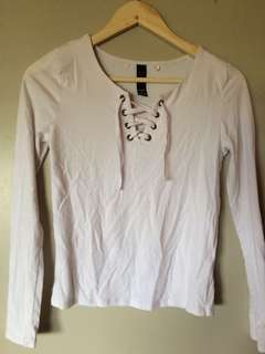 White Lace up Shirt