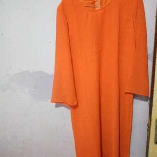 Gamis orange bunga2 1 set iner dan outer
