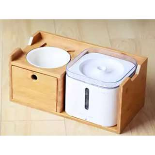 Wooden pet food bowl set + water fountain for cats or dogs