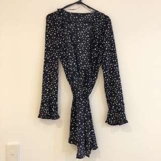 Star print mini wrap dress