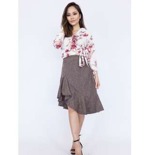 Asymmetrical Tweed Ruffle Skirt