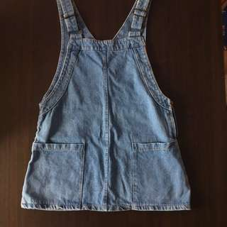 Mid Washed Blue Denim Overall Skirt
