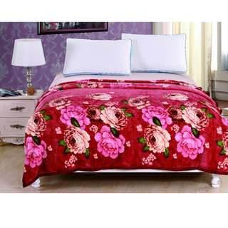 Selimut polyester rose red uk180x200