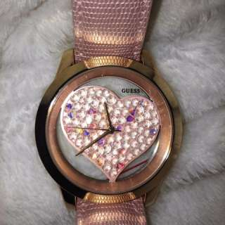 Guess Women's Rhinestone Heart Watch