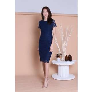 Topazette (Premium) Esme Sleeved Lace Dress in Navy (size S)