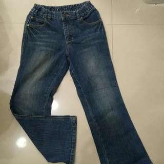 深藍刷紋直筒腰帶可調整彈性牛仔褲12歲