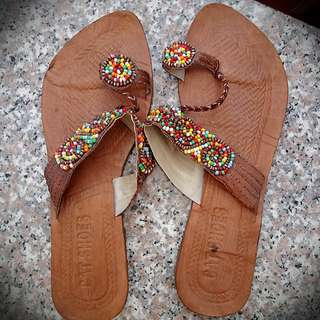 Genuine Leather Hand Beaded Sandals