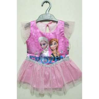 Dress frozen pink gaun anak