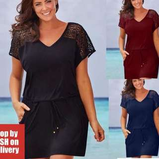 Drawstring dress plus size