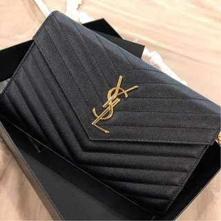 Brand New YSL Medium Wallet on Chain in Black with GHW