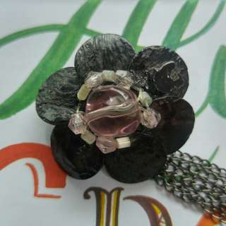 Black mother of pearl flower brooch