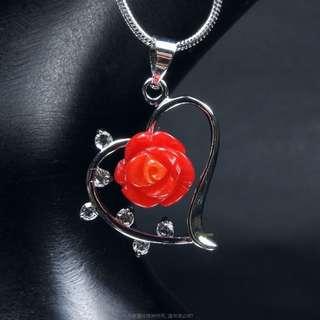 珍珠林~10MM美鑽阿卡手工雕刻玫瑰花珊瑚心型墬~可加購耳環搭配成套#796