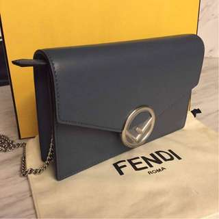 Brand New Fendi Wallet on Chain in Blue Calfskin