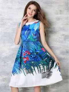 AO/DZC072641 - Charming Fashion Pleated Waist Floral Sleeveless Dress