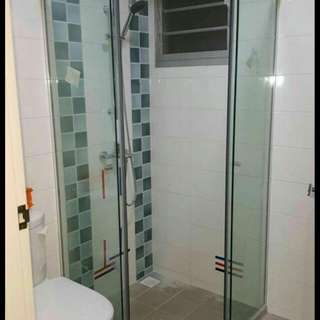 Sliding shower glass, fixed panel and tempered glass toilet door
