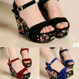 Floral Sexy Wedge Sandals Shoes Footwear Heels Pumps Open Toe Fashion Bestseller Latest Design