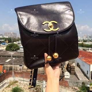 (SOLD)Chanel Vintage 黑色羊皮大CC Backpack