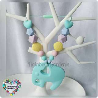 Turquoise Blue elephant Teether with pastel beads Carrier Accessory