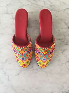 "*Price Adjusted* A Pair of ""Manek Potong"" Beaded Slippers"