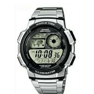 Original Casio illuminator stainless steel watch with 1 year warranty