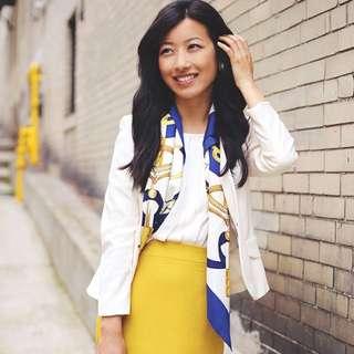 Drape it like a headband in yellow multi for a modern look