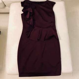 Ted Baker Maroon Bodycon Dress (Size 2 / EU38 / AU10 / UK10 / US6)