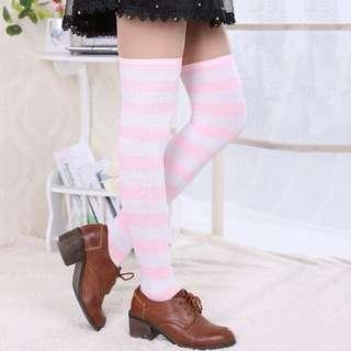 Kaos kaki harajuku pastel garis belang stripped