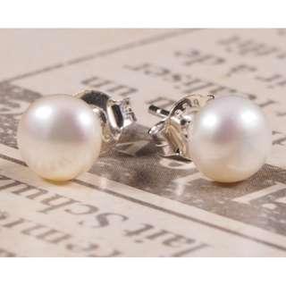 GENUINE Flesh Water Pearl 925 Silver Earrings